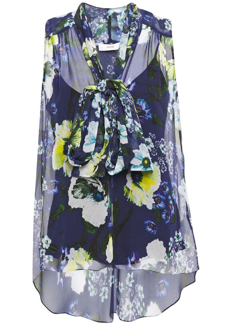 Erdem Woman Pussy-bow Floral-print Silk-georgette Top Navy
