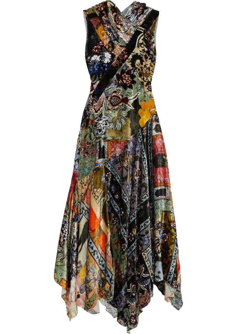 Erdem Woman Reza Patchwork-effect Printed Velvet Maxi Dress Multicolor
