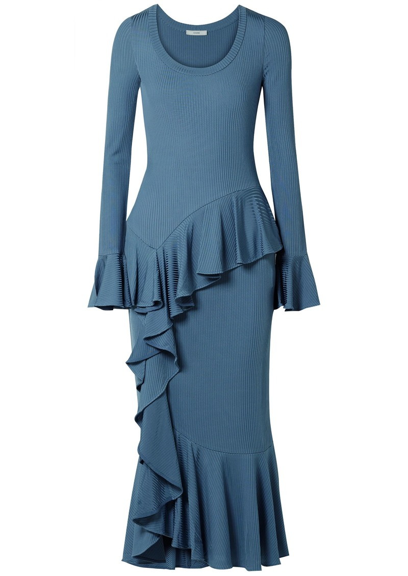 Erdem Woman Rowan Ruffled Ribbed-knit Midi Dress Light Blue