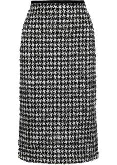 Erdem Woman Safia Metallic Houndstooth Cotton-blend Tweed Pencil Skirt Black