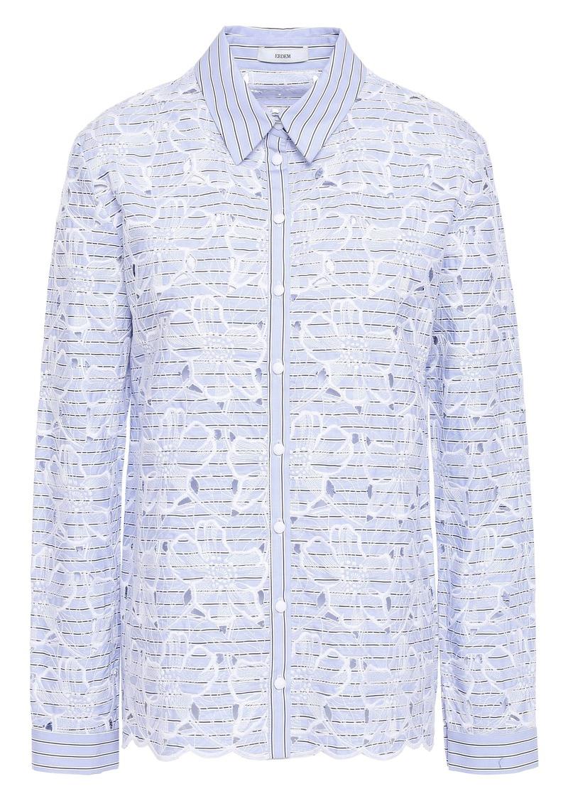Erdem Woman Striped Broderie Anglaise Cotton Shirt Light Blue