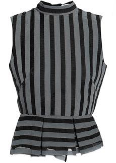 Erdem Woman Striped Organza Peplum Top Gray