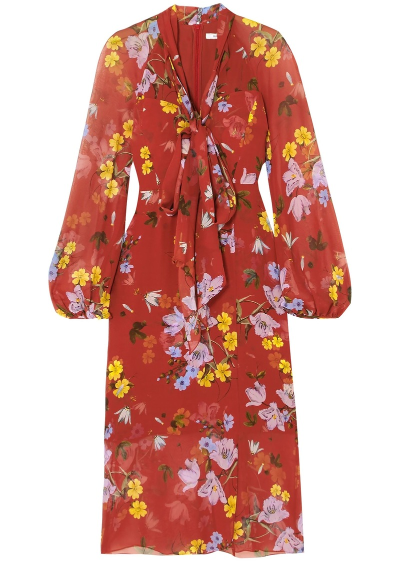 Erdem Woman Tamaryn Pussy-bow Floral-print Silk-chiffon Midi Dress Tomato Red
