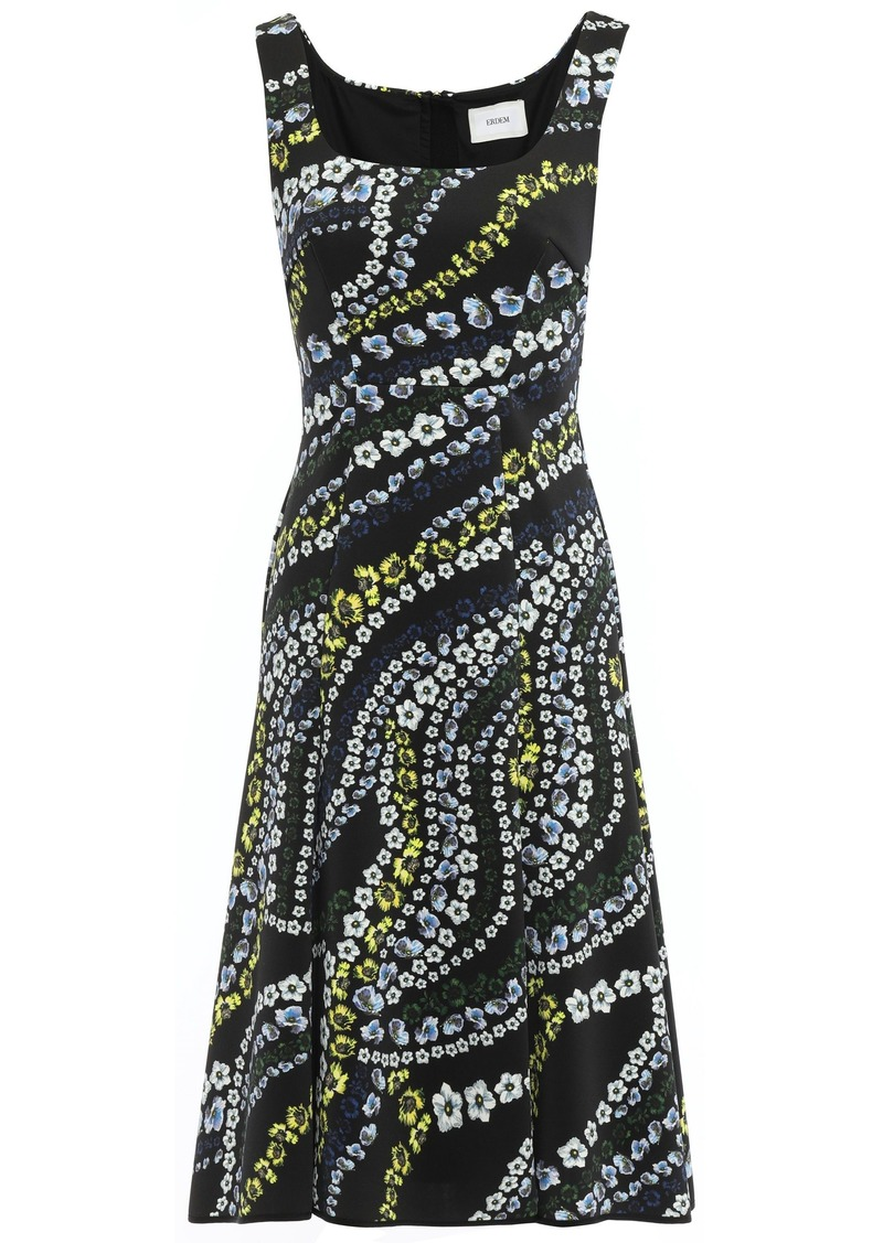Erdem Woman Tate Suzu Swirl Floral-print Neoprene Dress Black