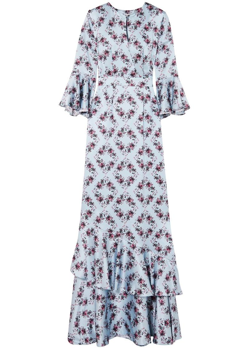 Erdem Woman Venice Ruffle-trimmed Floral-print Silk-satin Gown Sky Blue