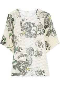 Erdem Woman Voni Printed Metallic Fil Coupé Silk-blend Blouse Green