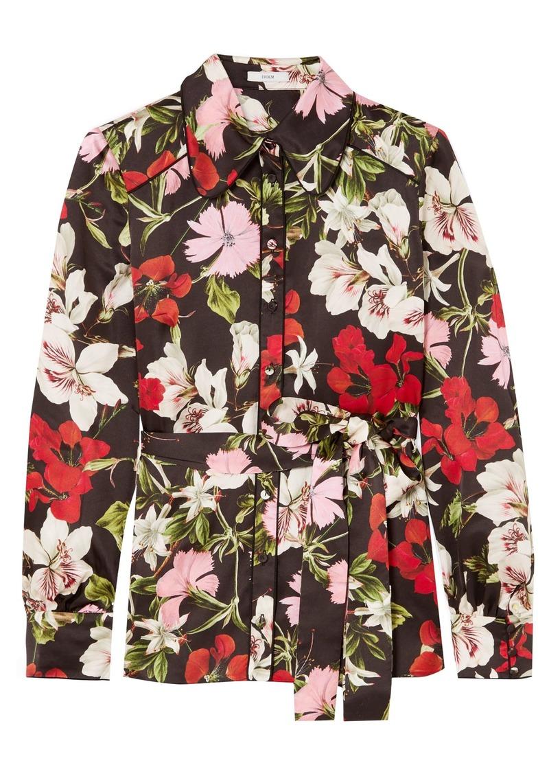 Erdem Woman Xen Floral-print Silk-satin Blouse Black