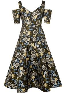 Erdem Woman Yamal Cold-shoulder Floral-jacquard Dress Black
