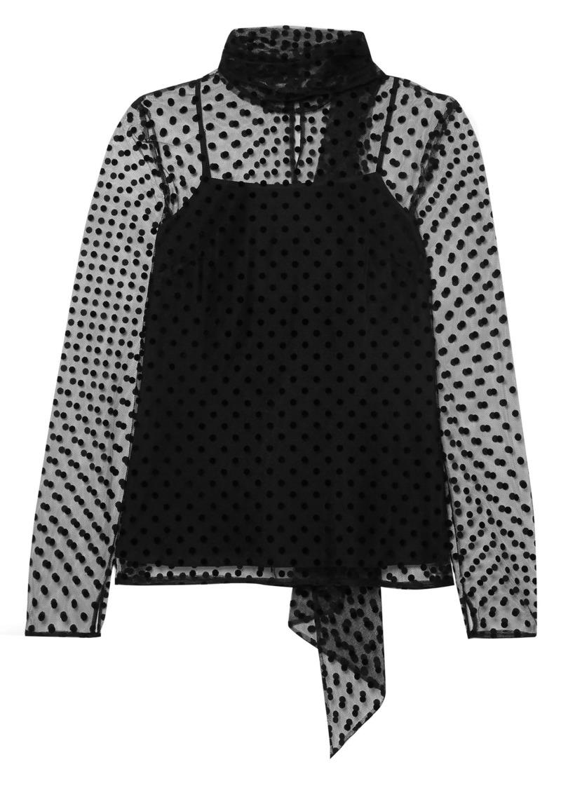 Erdem Woman Yvonna Polka-dot Flocked Tulle Blouse Black