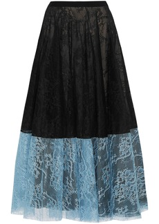 Erdem Woman Zaneen Two-tone Chantilly Lace Midi Skirt Black