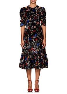 Erdem Women's Anthea Embellished Floral Velvet Dress