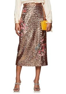 Erdem Women's Sacha Floral-Embellished Sequined Midi-Skirt