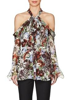 Erdem Women's Uriel Floral Silk Cold-Shoulder Blouse