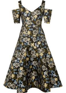 Erdem Yamal cold-shoulder floral-jacquard midi dress