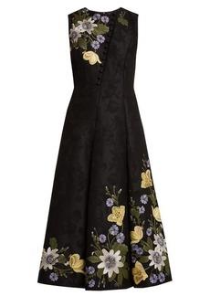 Erdem Yasmine floral-embroidered cotton-blend gown