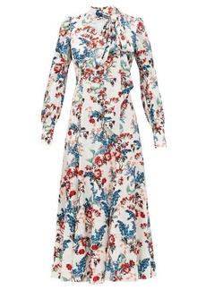 Erdem Yolande Bird Blossom-print jacquard midi dress