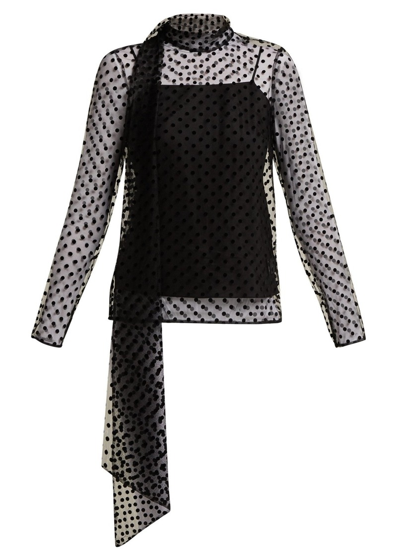 a5742fa5eff301 Erdem Erdem Yvonne polka dot-flocked silk-tulle blouse | Casual Shirts