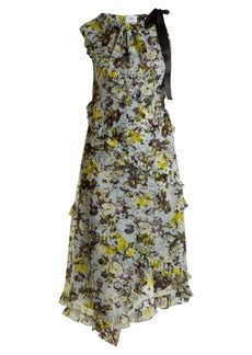 Erdem Zandra Lenten Field-print asymmetric silk dress