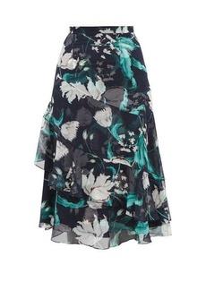 Erdem Zennia Leighton Tulip-print flounced silk skirt