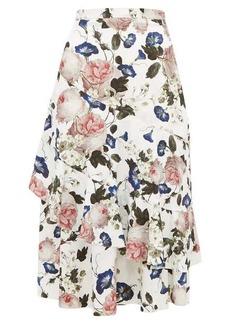 Erdem Zennia rose-print jacquard flounced midi skirt