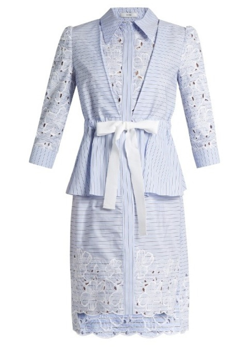 Erdem Zuni striped broderie-anglaise dress
