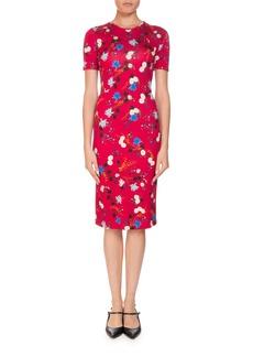 Erdem Essie Hideko Garden Short-Sleeve Crewneck Floral-Print Fitted Dress