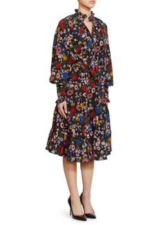Erdem Eugenie High Neck Ruffle Trim Silk Dress