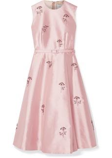 Erdem Farrah Belted Crystal-embellished Mikado Dress