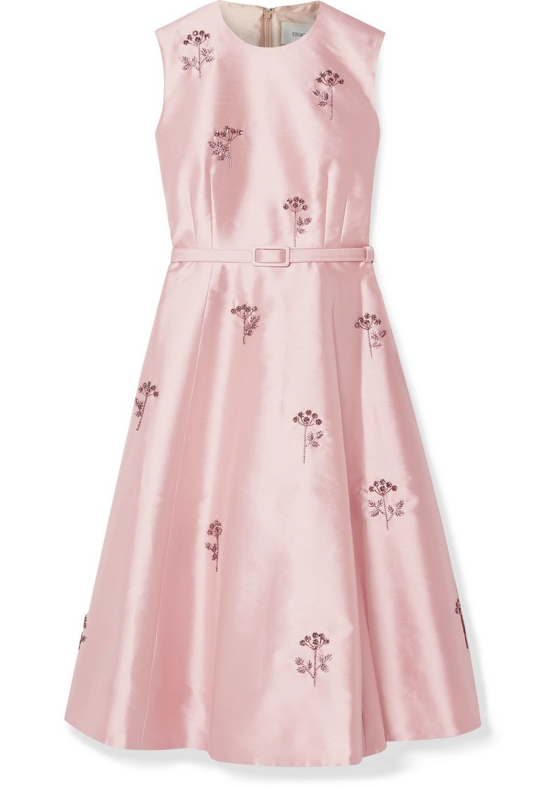 Erdem Farrah Belted Crystal-embellished Mikado Dress