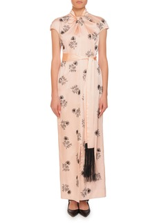 Erdem Finn Knotted-Neck Cap-Sleeve Embroidered Wrap-Sash Silk Long Dress
