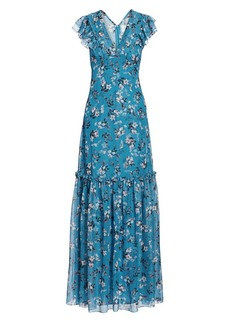 Erdem Franceline Daffodil Bouquet Silk Voile Maxi Dress