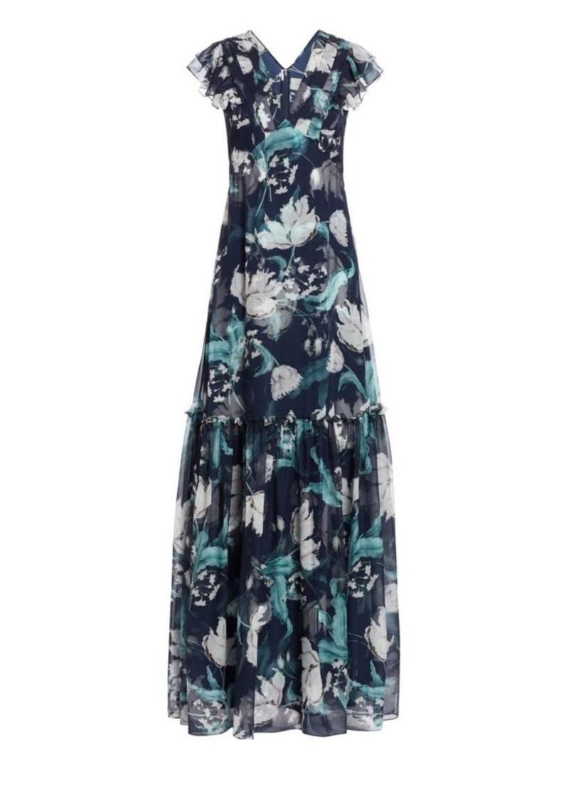 Erdem Franceline Floral Silk Gown