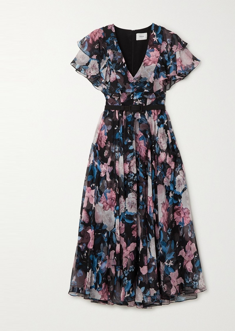 Erdem Garland Belted Floral-print Silk-chiffon Midi Dress