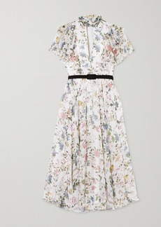 Erdem Giudita Tie-neck Belted Floral-print Silk-voile Dress