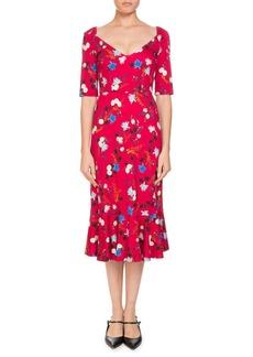 Erdem Glenys Hideko Garden Floral-Print Calf-Length Dress