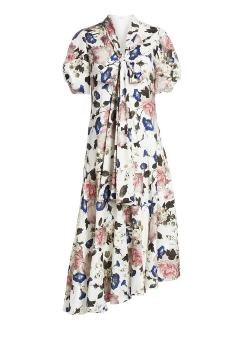 Erdem Jayla Floral Puff Sleeve Asymmetric Midi Dress