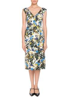 Erdem Jyoti Off-the-Shoulder V-Neck Meadow Floral Jacquard Sheath Dress