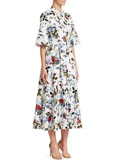 Erdem Kaiya Floral Button-Front Midi Dress