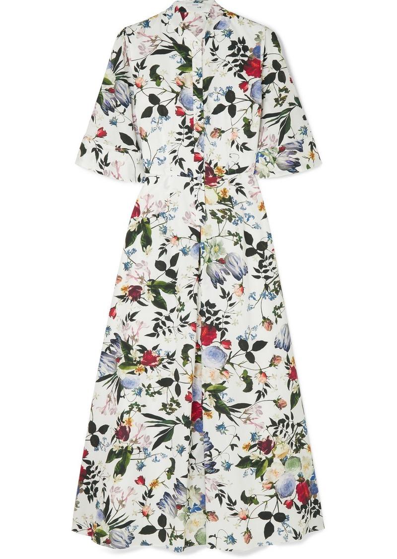 Erdem Kaiya Floral-print Cotton-poplin Midi Dress