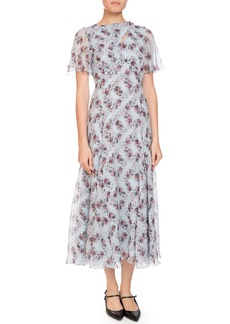 Erdem Kathryn Cape-Sleeve Keiko Diamond Silk Dress