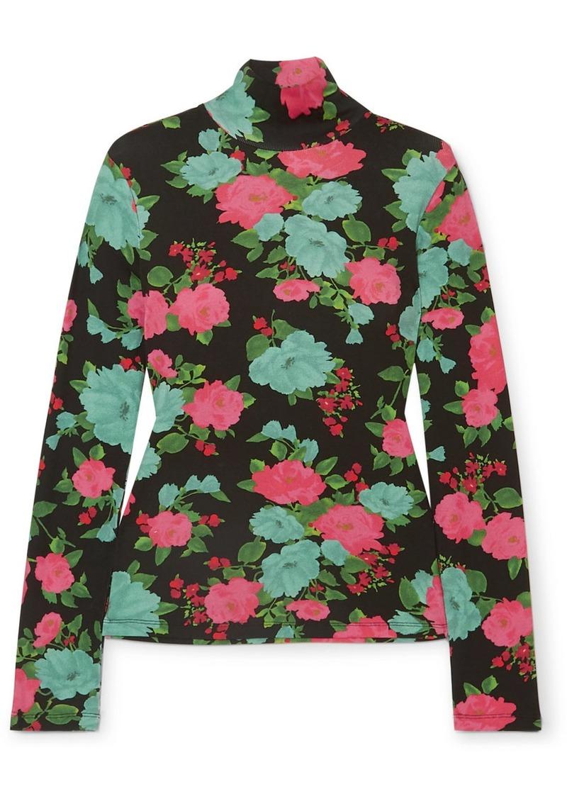 Erdem Kelly Floral-print Ribbed Stretch-cotton Turtleneck Top