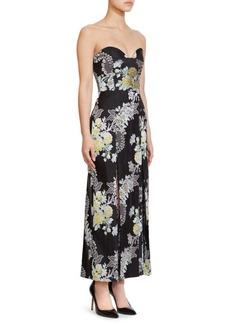 Erdem Leora Rose Strapless Midi Dress