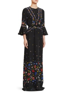 Erdem Linzea Flutter Sleeve Silk Gown