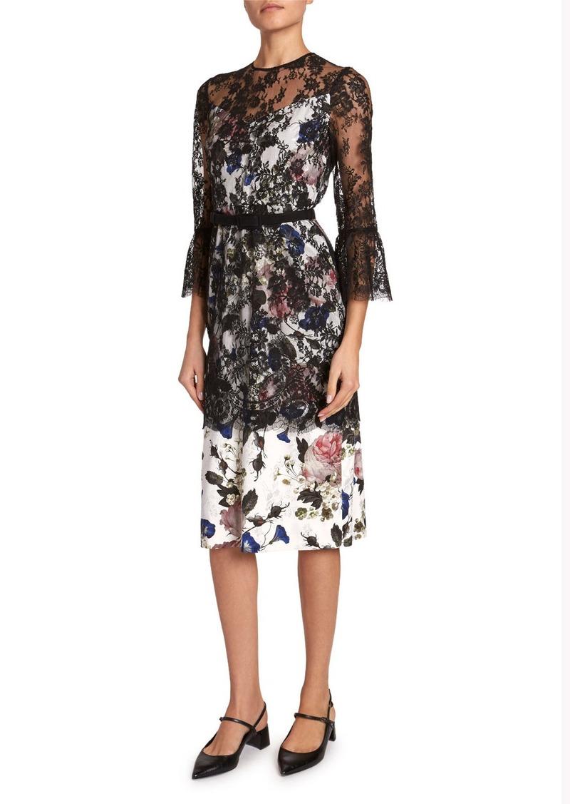 Erdem Luciela 3/4-Sleeve Lace-Overlay Dress