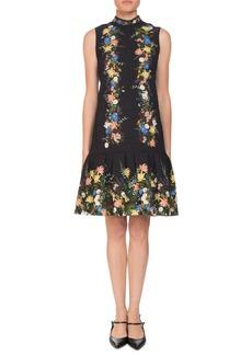 Erdem Nena Band-Collar Sleeveless A-Line Floral-Jacquard Dress
