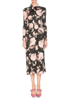 Erdem Nolene Long-Sleeve Dutch-Petal Jersey Midi Dress