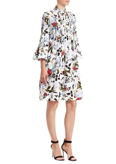 Erdem Reagan Floral Plisse A-Line Shirt Dress