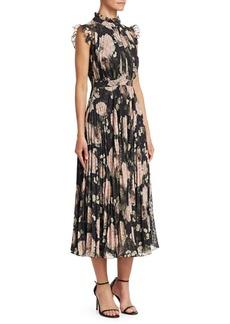 Erdem Roisin Pleated Floral-Print A-Line Dress