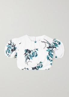 Erdem Romi Cropped Floral-print Linen Top