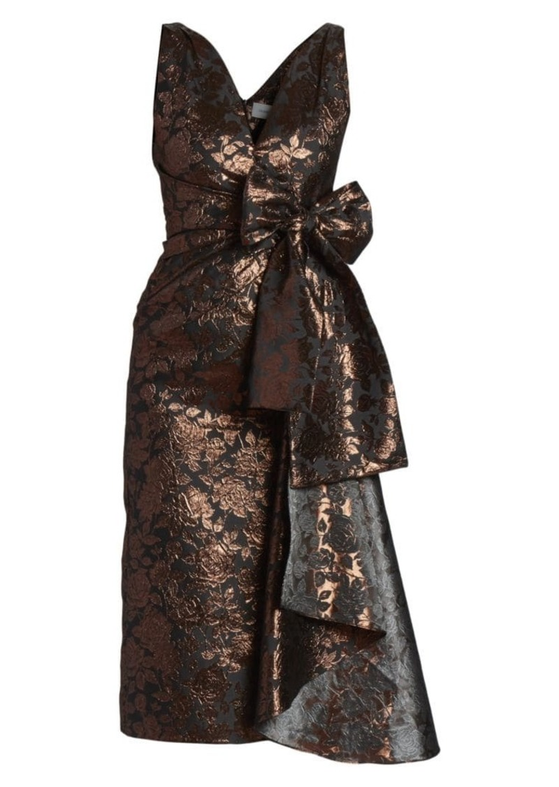 Erdem Rose Jacquard Bow Sheath Dress